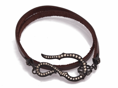 "Collection: Old World Style #: 12859 Description: New World Midnight all-black 14"" pave hook leather wrap bracelet with champagne diamonds and white sapphires."