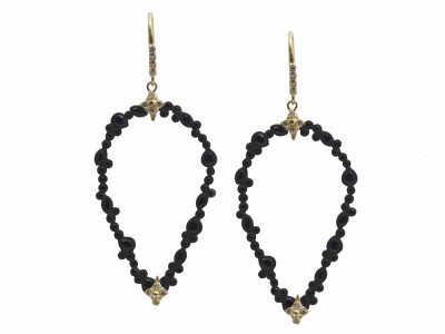 Collection: Old World Style #: 11498 Description: Old World blackened sterling silver/18k yellow gold open pear clustered earring with white diamonds and black sapphires. Diamond Weight 0.12ct