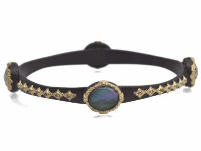 Collection: Old World Style #: 11496 Description: Old World blackened sterling silver/18k yellow gold oval scalloped bangle bracelet with Emerald/White MOP/Quartz triplet and champagne diamonds. Diamond Weight 0.34ct