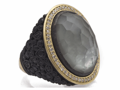 Collection: Old World Style #: 11486 Description: Old World blackened sterling silver/18k yellow gold 20x15 oval cluster ring with White MOP/Grey Foil/White Quartz triplet, white diamonds and black sapphires. Diamond Weight 0.29ct