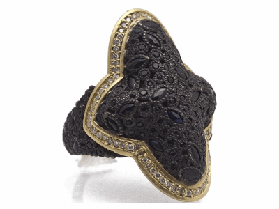 Collection: Old World Style #: 11500 Description: Old World blackened sterling silver/18k yellow gold large clustered saddle ring with white diamonds and black sapphires. Diamond Weight 0.3ct