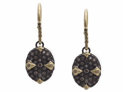 Collection: Old World Style #: 11538 Description: Old World blackened sterling silver/18k yellow gold 12mm pave oval bean-shaped drop earring with champagne and white diamonds. Diamond Weight 0.79ct