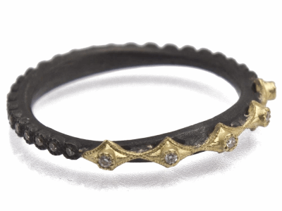 Collection: Old World Style #: 11510 Description: Old World blackened sterling silver/18k yellow gold multi-crivelli stack ring with white and champagne diamonds. Diamond Weight 0.18ct