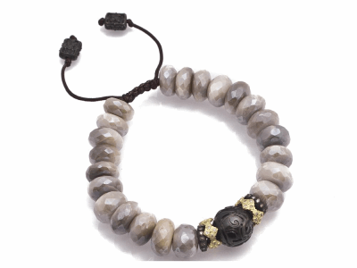 Collection: Old World Style #: 11570 Description: Old World blackened sterling silver/18k yellow gold faceted Mystic Moonstone and carved South Sea Tahitian Pearl beaded bracelet with champagne diamonds. Diamond Weight 0.41ct