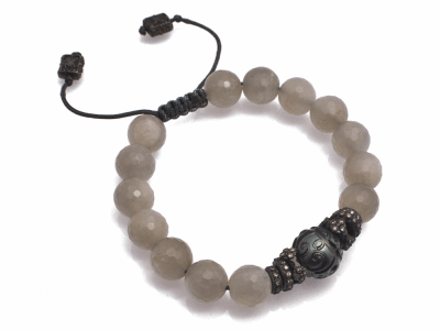 Collection: Old World Style #: 11569 Description: Old World Midnight all-black faceted Grey Moonstone and carved South Sea Tahitian Pearl beaded bracelet with champagne diamonds. Diamond Weight 0.48ct
