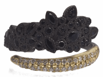 Collection: Old World Style #: 11581 Description: Old World blackened sterling silver/18k yellow gold large-cluster wrap ring with white diamonds and black sapphires. Diamond Weight 0.21ct