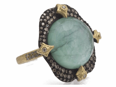 Collection: Old World Style #: 11584 Description: Old World blackened sterling silver/18k yellow gold 16mm round pave crivelli-prong with Emerald/White MOP/White Quartz triplet and white and champagne diamonds. Diamond Weight 1.04ct