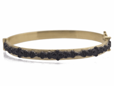 Collection: Old World Style #: 11619 Description: Old World 18k yellow gold/blackened sterling silver cluster huggie bracelet with black sapphires.