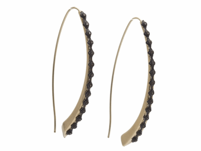 Collection: Old World Style #: 11637 Description: Old World blackened sterling silver/18k yellow gold crivelli oval electroform wire hook earring with champagne diamonds. Diamond Weight 0.45ct