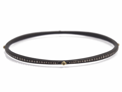 Collection: Old World Style #: 11634 Description: Old World blackened sterling silver/18k yellow gold crivelli and eternity diamond bangle bracelet with champagne diamonds. Diamond Weight 1.46ct
