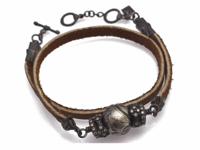 "Collection: Old World Style #: 11651 Description: Old World Midnight 14"" all-black double-wrap leather bracelet with carved Tahitian Pearl and champagne diamonds. Diamond Weight 0.42ct"