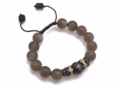 Collection: Old World Style #: 11650 Description: Old World blackened sterling silver/18k yellow gold faceted Brown Moonstone and carved Tahitian Pearl beaded bracelet with champagne diamonds. Diamond Weight 0.53ct