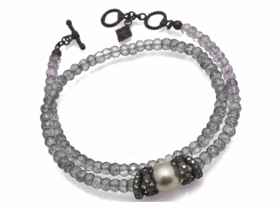 "Collection: Old World Style #: 11655 Description: Old World Midnight 14"" all-black double-wrap beaded bracelet with Mystic Green Amethyst beads, South Sea Tahitian Pearl and champagne diamonds. Diamond Weight 0.36ct"