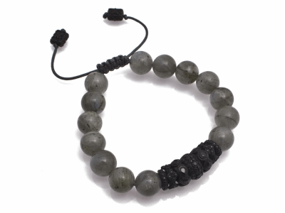 Collection: Old World Style #: 11653 Description: Old World Midnight all-black 10mm Smooth Labradorite beaded bracelet with black sapphires.