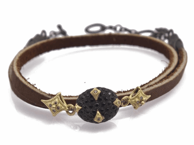 "Collection: Old World Style #: 11658 Description: Old World blackened sterling silver/18k yellow gold 14"" 12mm pave bead double-wrap leather bracelet with champagne and black diamonds."