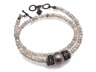 "Collection: Old World Style #: 11657 Description: Old World Midnight 14"" all-black double-wrap beaded bracelet with Mystic Moonstone beads, South Sea Tahitian Pearl and champagne diamonds. Diamond Weight 0.36ct"