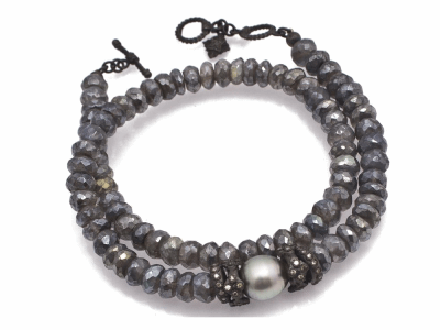 "Collection: Old World Style #: 11656 Description: Old World Midnight 14"" all-black double-wrap beaded bracelet with Mystic Labradorite beads, South Sea Tahitian Pearl and champagne diamonds. Diamond Weight 0.36ct"