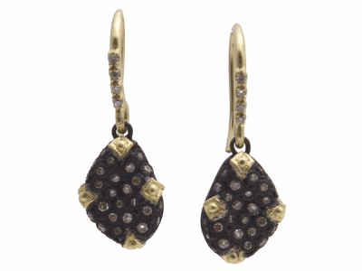 Collection: Old World Style #: 11675 Description: Old World blackened sterling silver/18k yellow gold 12mm pave petite bean-shaped drop earring with champagne and white diamonds. Diamond Weight 0.42ct