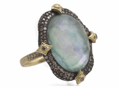 Collection: Old World Style #: 11688 Description: Old World blackened sterling silver/18k yellow gold 20x15mm oval pave crivelli-prong ring with Emerald/White Mother of Pearl/White Quartz triplet and white and champagne diamonds. Diamond Weight 1.33ct