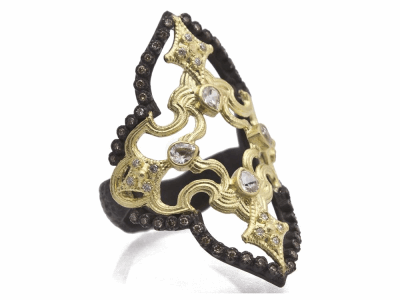 Collection: Old World Style #: 11702 Description: Old World blackened sterling silver/18k yellow gold 40mm long open scroll ring with white and champagne diamonds. Diamond Weight 0.37ct