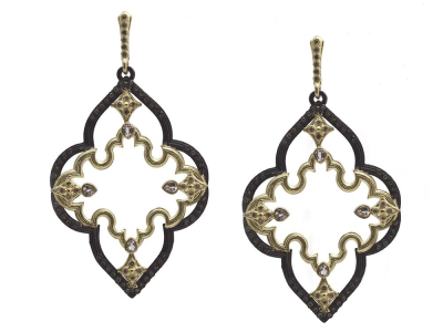Collection: Old World Style #: 11700 Description: Old World blackened sterling silver/18k yellow gold 50mm long open scroll earring with champagne diamonds and white sapphires. Diamond Weight 0.84ct
