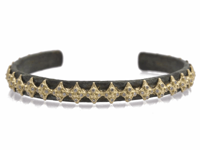 Collection: Old World Style #: 11715 Description: Sueno 18k yellow gold crivelli artifact cuff bracelet with white diamonds. Diamond Weight 0.28ct