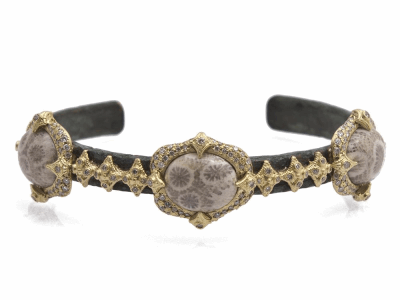 Collection: Old World Style #: 11716 Description: Sueno 18k yellow gold Fossilized Coral and crivelli artifact cuff bracelet with white diamonds. Diamond Weight 0.86ct