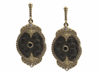 Collection: Old World Style #: 11721 Description: Sueno 18k yellow gold 24mm long oval artifact earrings with center tourmaline, white diamonds and white sapphires. Diamond Weight 0.97ct