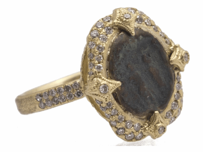 Collection: Old World Style #: 11724 Description: Sueno 18k yellow gold 12x10mm oval Togetherness Coin artifact ring with pave white diamonds. Diamond Weight 0.49ct