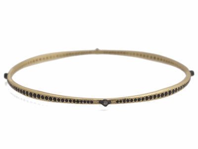 Collection: Old World Style #: 11747 Description: Old World 18k yellow gold/blackened sterling silver crivelli and eternity black sapphire and white diamond bangle bracelet. Diamond Weight 0.03ct