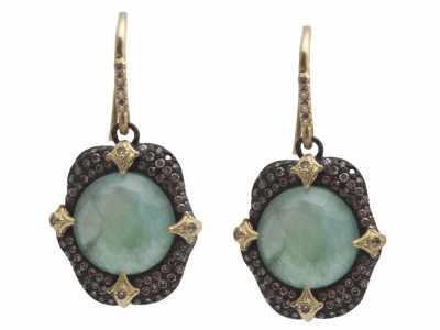 Collection: Old World Style #: 11767 Description: Old World blackened sterling silver/18k yellow gold 12mm round pave crivelli-prong drop earring with Emerald/White MOP/White Quartz triplet and white and champagne diamonds. Diamond Weight 1.25ct