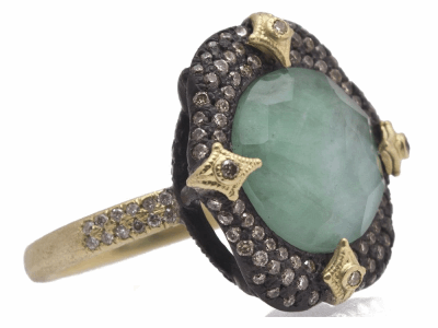 Collection: Old World Style #: 11759 Description: Old World blackened sterling silver/18k yellow gold 12mm round pave crivelli-prong ring with Emerald/White MOP/White Quartz triplet and white and champagne diamonds. Diamond Weight 0.81ct