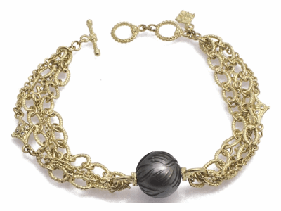 "Collection: Old World Style #: 11778 Description: Sueno 18k yellow gold 7.5"" crivelli chain bracelet with carved Tahitian Pearl and white diamonds. Diamond Weight 0.12ct"