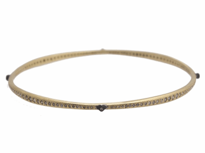 Collection: Old World Style #: 11773 Description: Old World 18k yellow gold/blackened sterling silver crivelli and eternity diamond bangle bracelet with champagne diamonds. Diamond Weight 1.46ct