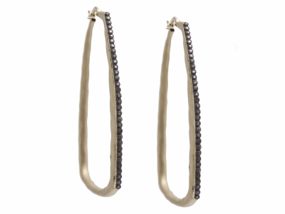 Collection: Old World Style #: 11785 Description: Old World blackened sterling silver/18k yellow gold large square hoop earring with eternity champagne diamonds. Diamond Weight 0.46ct