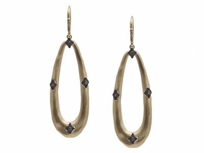 Collection: Old World Style #: 11783 Description: Old World blackened sterling silver/18k yellow gold elongated oval crivelli earring with champagne diamonds. Diamond Weight 0.18ct