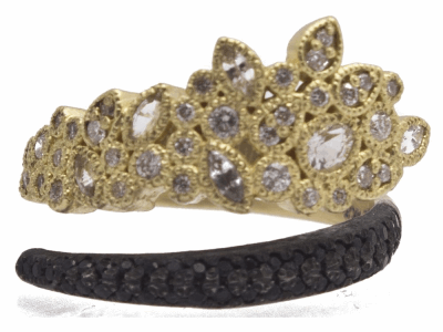 Collection: Old World Style #: 11978 Description: Old World 18k yellow gold/blackened sterling silver large-cluster wrap ring with white diamonds, white sapphires and black sapphires. Diamond Weight 0.27ct
