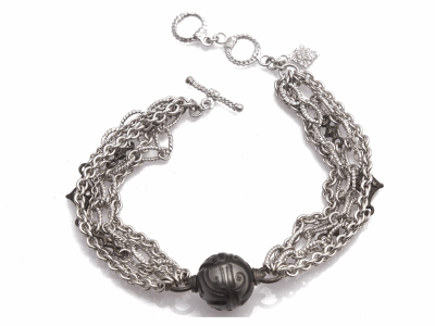 "Collection: Old World Style #: 11904 Description: New World blackened sterling silver/sterling silver 7.5"" crivelli chain bracelet with carved South Sea Tahitian Pearl and champagne diamonds. Diamond Weight 0.14ct"