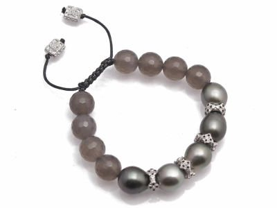 Collection: Old World Style #: 11902 Description: New World stacked crivelli station South Sea Tahitian Pearl and Grey Agate beaded bracelet with black sapphires.
