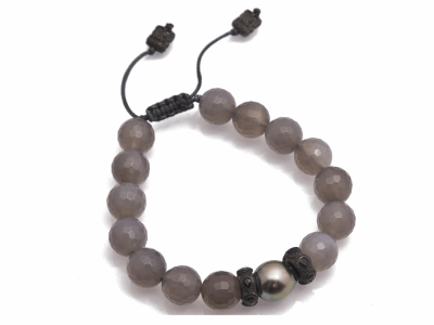 Collection: Old World Style #: 11900 Description: New World Midnight all-black Grey Agate and South Sea Tahitian Pearl beaded bracelet with black pear sapphires.