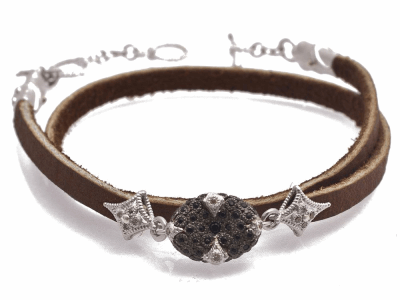 "Collection: Old WorldStyle #: 11905Description: New World blackened sterling silver/sterling silver 14"" 12mm pave bead double-wrap leather bracelet with black sapphires and champagne diamonds. Diamond Weight 0.07ct"