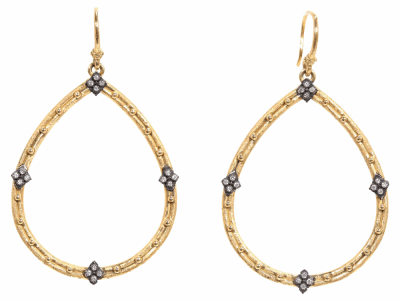 Collection: Old World Style #: 02147 Description: Yellow Gold open pear earrings with diamonds and gold granulation.Metal: .925 Sterling Silver/18k Yellow Gold