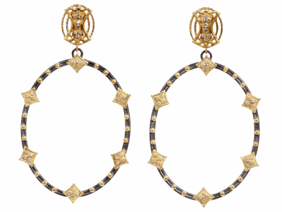 Collection: Old World Style #: 02188 Description: Old World open oval earring with Yellow Gold cravelli diamonds and granulation.Metal: .925 Sterling SilverS/18k Yellow Gold