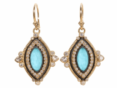Collection: Old World Style #: 02243 Description: Old World marquis 12x6 turquoise and diamond earrings.Metal: .925 Sterling SilverS/18k Yellow Gold