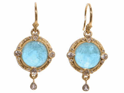 Collection: Old World Style #: 02227 Description: Old World 12mm round turquoise and diamond earrings on granulated hook.Metal: .925 Sterling SilverS/18k Yellow Gold