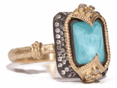 Collection: Old World Style #: 02337 Description: Blackened sterling silver and 18k yellow gold emerald cut stack ring with turquoise/quartz doublet and diamonds on a yellow gold sculpted band.Metal: .925 Sterling SilverS/18k Yellow Gold