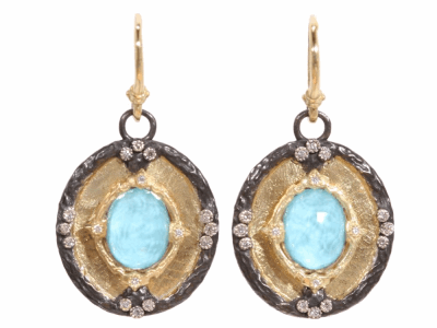 Collection: Old World Style #: 02330 Description: Old World blackened sterling silver and 18k yellow gold oval shield earrings with turquoise and diamonds on granulated hook.Metal: .925 Sterling SilverS/18k Yellow Gold