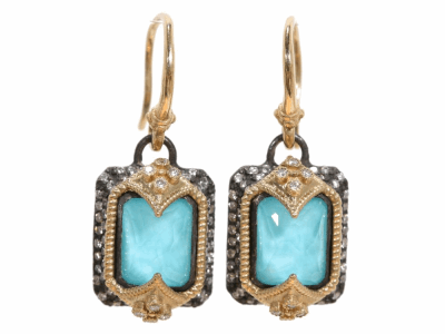 Collection: Old World Style #: 02345 Description: Blackened sterling silver and 18k yellow gold emerald cut earrings with turquoise and white diamonds.Metal: .925 Sterling SilverS/18k Yellow Gold