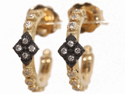 Collection: Old World Style #: 02338 Description: Yellow Gold huggie earrings with diamonds and Old World cravelli accent.Metal: .925 Sterling SilverS/18k Yellow Gold