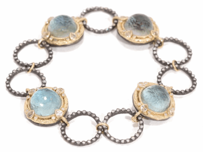 Collection: Old World Style #: 02393 Description: Old World circle link bracelet with 12mm round labradorite/blue topaz and diamonds.Metal: .925 Sterling SilverS/18k Yellow Gold